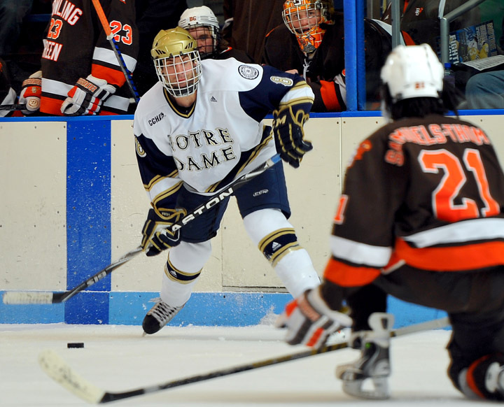 Stephen Johns scored Notre Dame's first goal of the game in the first period.