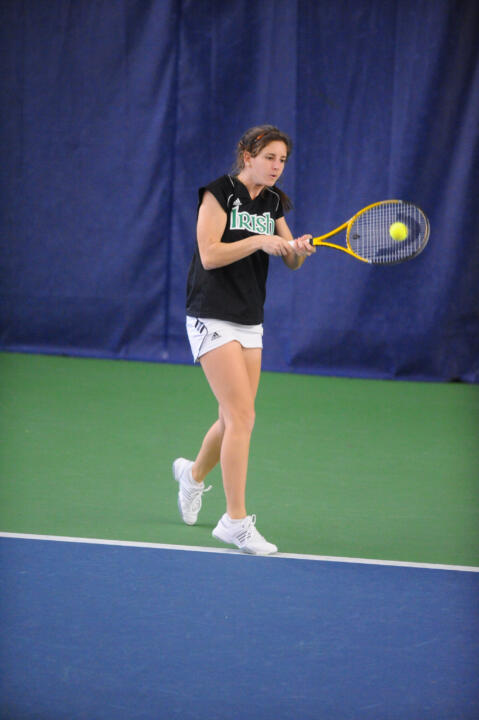 Jennifer Kellner was a bright spot for the Irish on a tough day on the courts, capturing her ninth-straight dual win of the season against USF, defeating Janette Bejlkova at No. 3 singles, 1-6, 7-5, 1-0 (10-4).