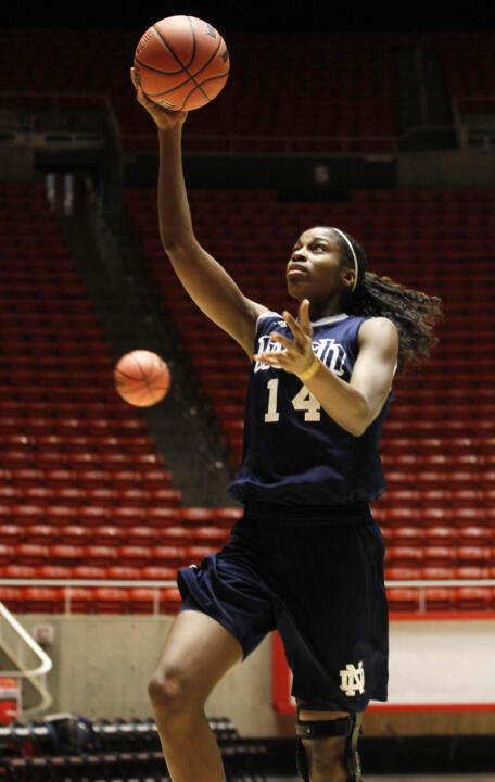 Senior forward Devereaux Peters goes in a for a layup during Notre Dame's NCAA Championship practice session on Friday afternoon at the Huntsman Center in Salt Lake City.