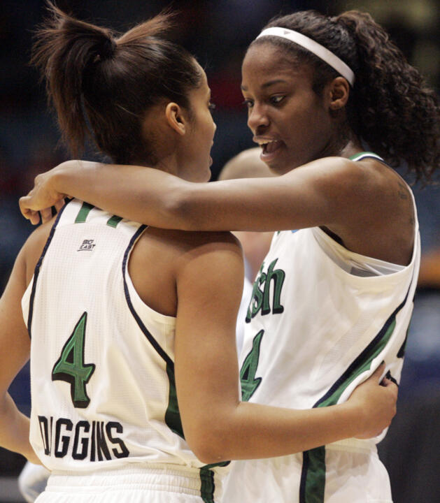 Sophomore guard Skylar Diggins (left) and senior forward Devereaux Peters (right) will look to lead Notre Dame to its third NCAA Women's Final Four when the second-seeded Fighting Irish face No. 1 seed Tennessee in the Dayton Regional final at 7 p.m. (ET) Monday on ESPNHD.