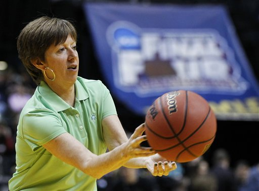 Coach McGraw passes the ball to the Fighting Irish at the one hour workout at Conseco Fieldhouse