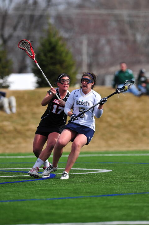 Senior Ansley Stewart paced the Notre Dame attack with three goals in the 12-7 loss at Syracuse.