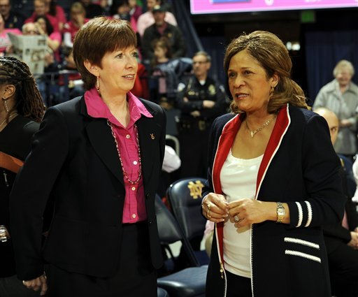 C. Vivian Stringer (right) speaks with Muffet McGraw before the Notre Dame-Rutgers matchup this season