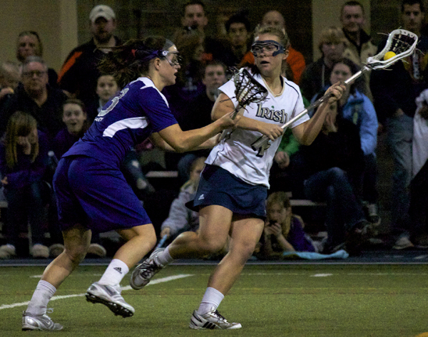 Speedy freshman midfielder Kaitlyn Brosco paced the Irish attack with three goals in the 11-6 win over Rutgers.