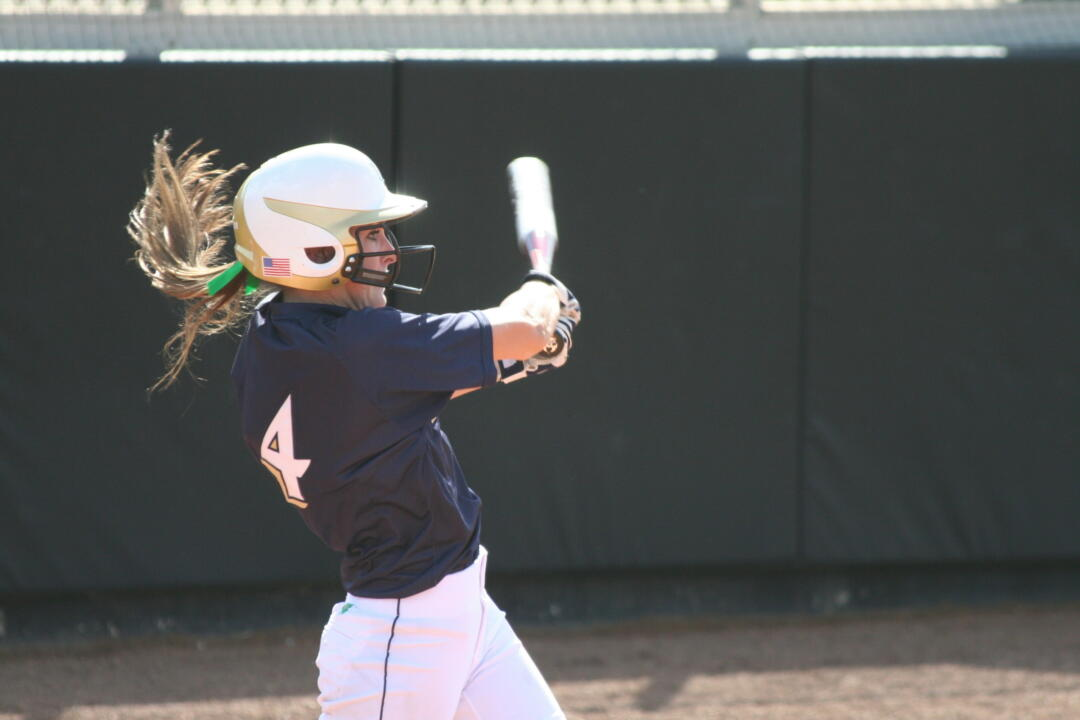 Lauren Stuhr hoisted Notre Dame to an 8-5 win over Louisville with a three-run home run.