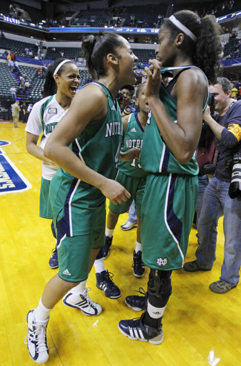 Skylar Diggins and Devereaux Peters following the national semifinals