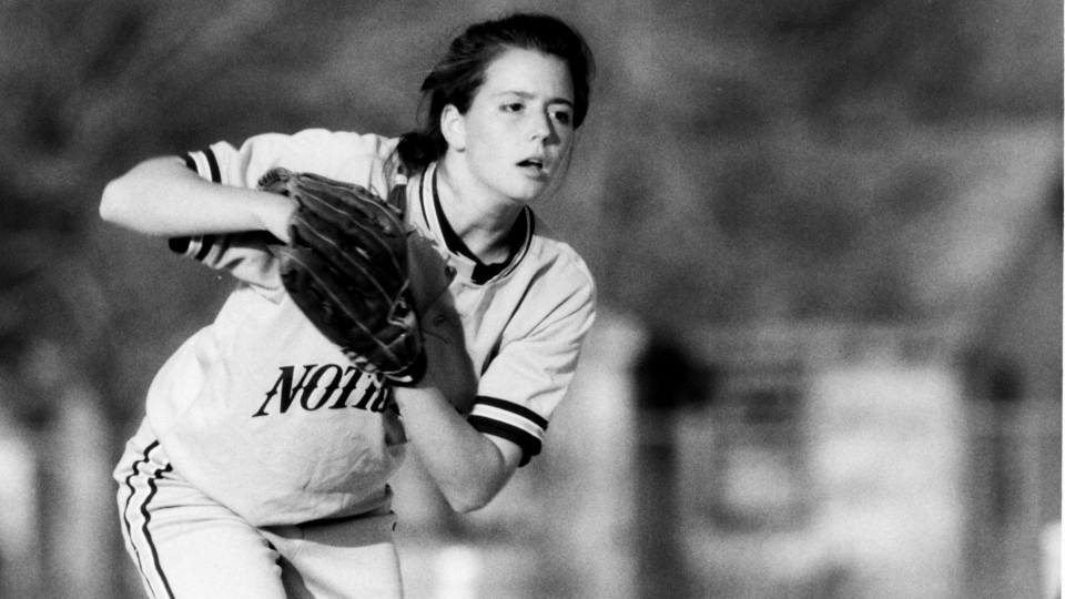 Staci Alford ('93) tossed a 13-inning complete game to seal the first MCC Tournament championship win for Notre Dame on April 22, 1990 against Saint Louis