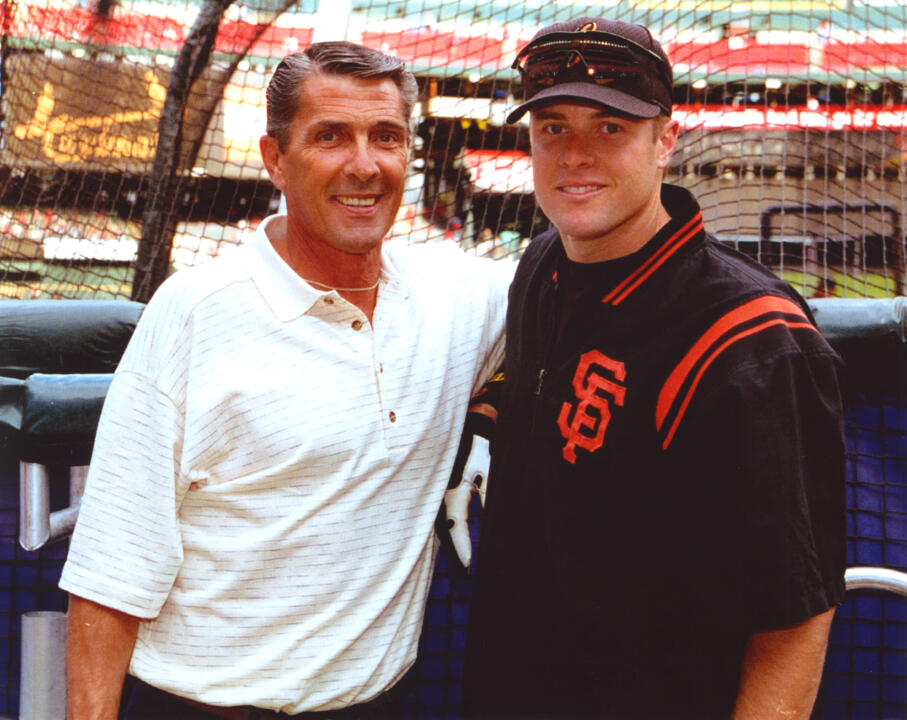 Jack Snow '65 (football) with his son and former San Francisco Giants first baseman J.T. Snow