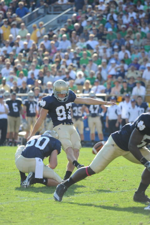 Senior placekicker David Ruffer booted three field goals, including a 50-yarder, in Notre Dame's 23-17 win over Pittsburgh last year at Notre Dame Stadium.