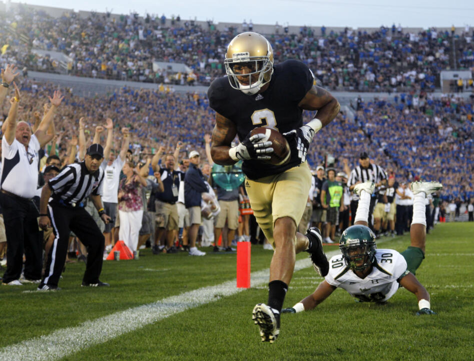 Senior WR Micheal Floyd scores one of his two touchdowns vs. USF last Saturday.