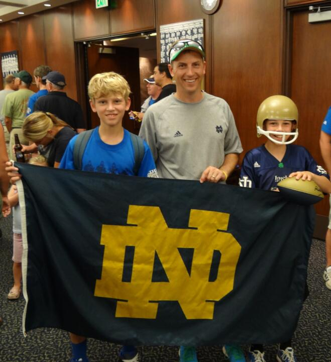 A Monogram winner (and some potential future ones) get ready to cheer on the Irish at Saturday's pre-game reception.