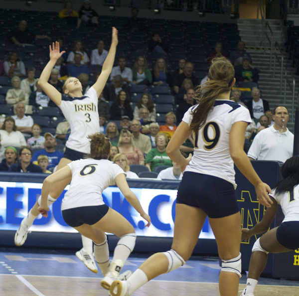 Andrea McHugh had 12 kills and 17 digs for Notre Dame Saturday night.