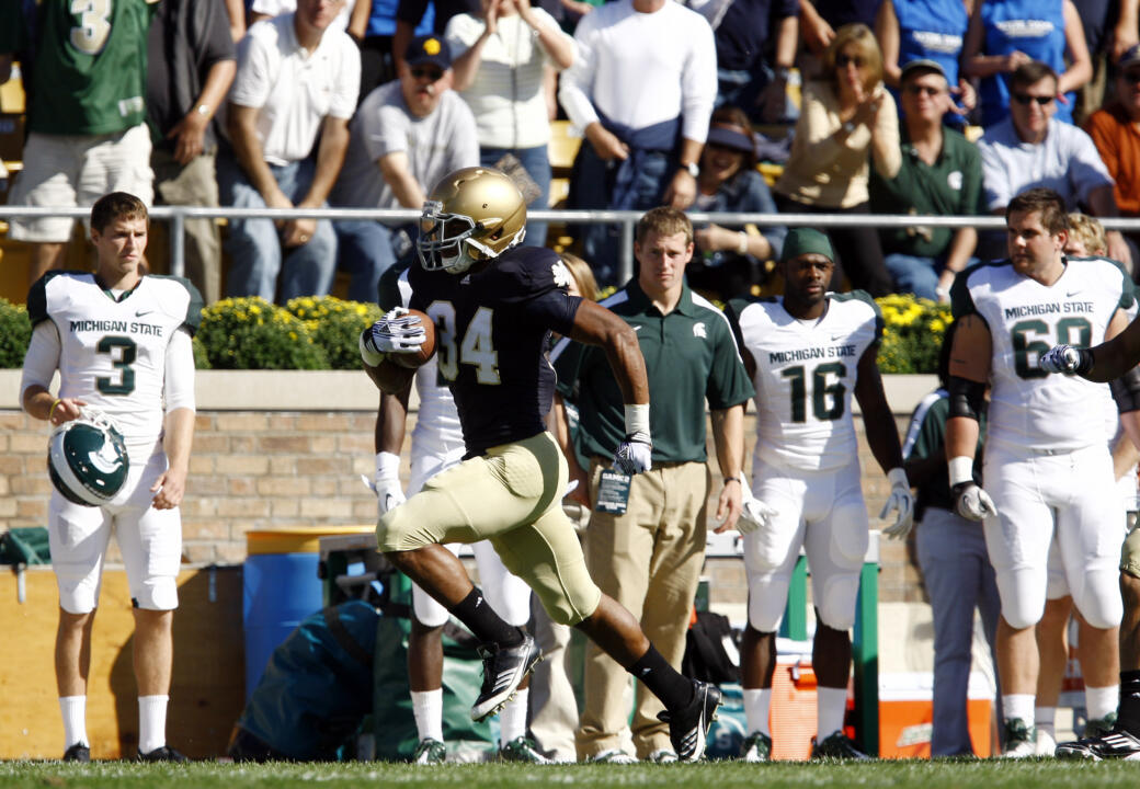 George Atkinson III became the first Irish freshman to return a kickoff for a touchdown since Rocket Ismail in 1988.