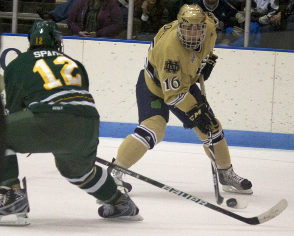 Sophomore right wing Mike Voran set up a pair of Irish goals in Notre Dame's 4-0 exhibition win over Western Ontario.