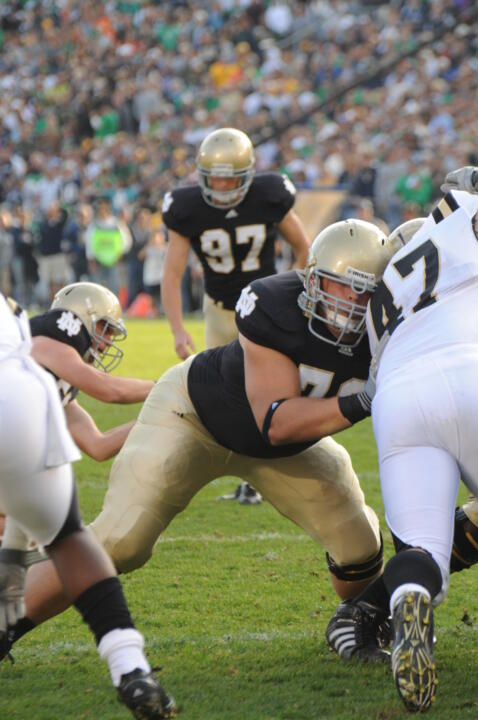 Andrew Nuss has played in 32 games over his Notre Dame career. He has filled a number of different roles for the Irish, but primarily has served as a reserve offensive lineman and special teamer.