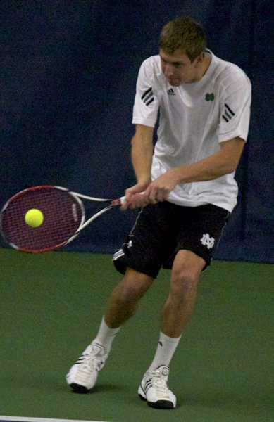Senior Sam Keeton won a singles and doubles match on day three at the Gopher Invitational.