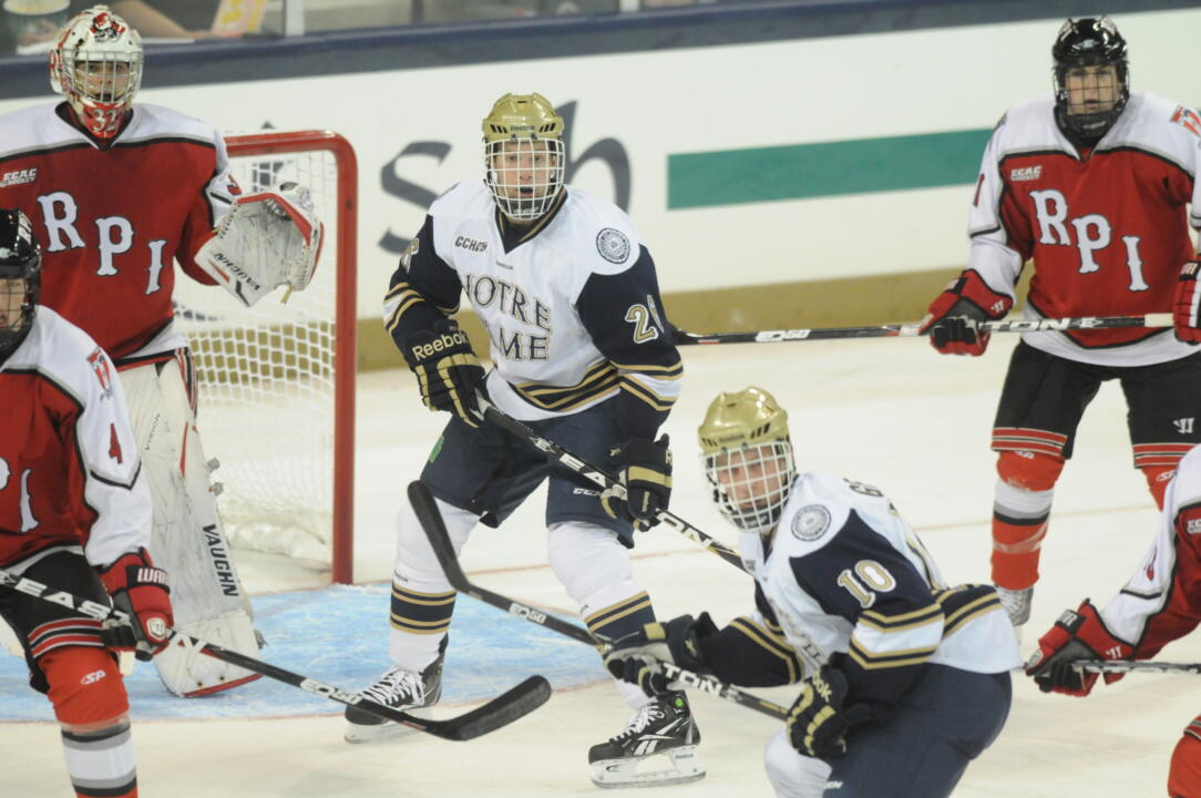 Junior left wing Nick Larson scored his second goal of the season in Notre Dame's 4-1 win at Lake Superior.