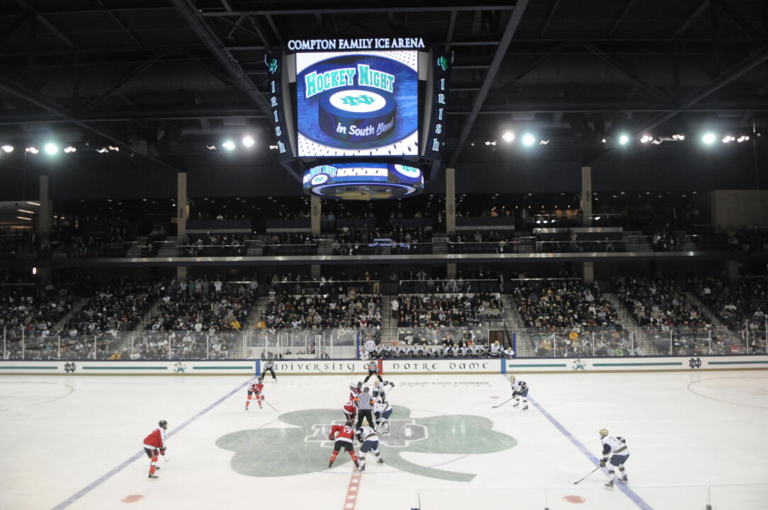 Notre Dame and Renneslaer played the first-ever game at the Compton Family Ice Arena on October 21, 2011.  The Irish christened CFIA with a 5-2 victory on that night.