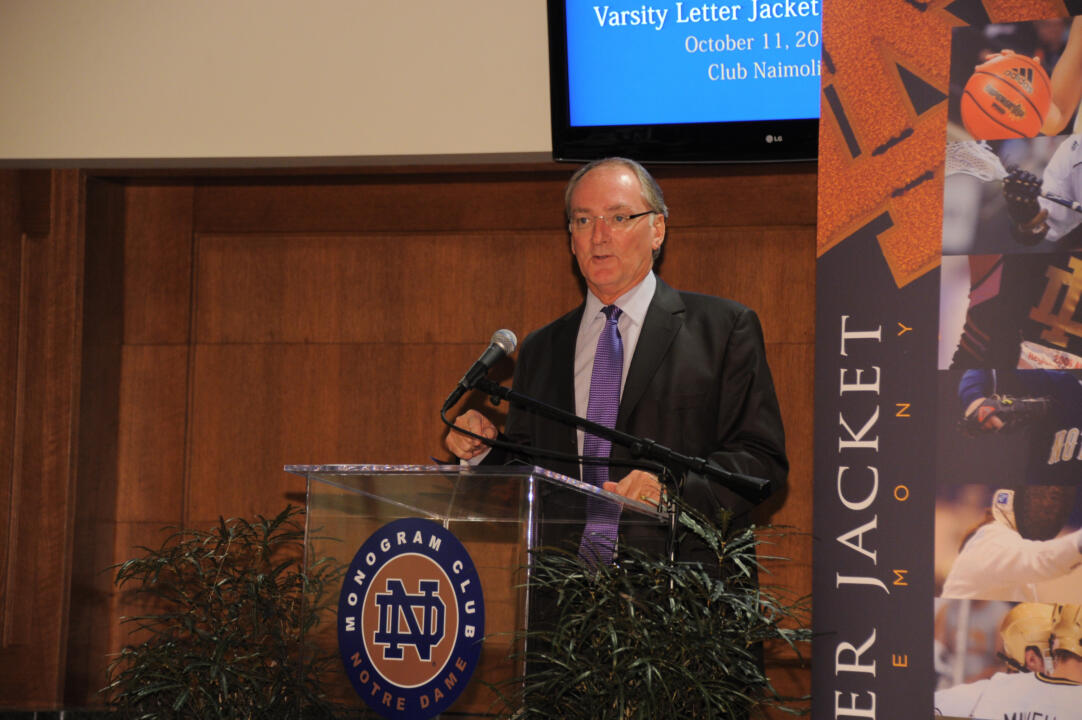 Athletics director Jack Swabrick ('76) addressed 135 first-time Monogram winners at the fall letter jacket ceremony on Oct. 11.