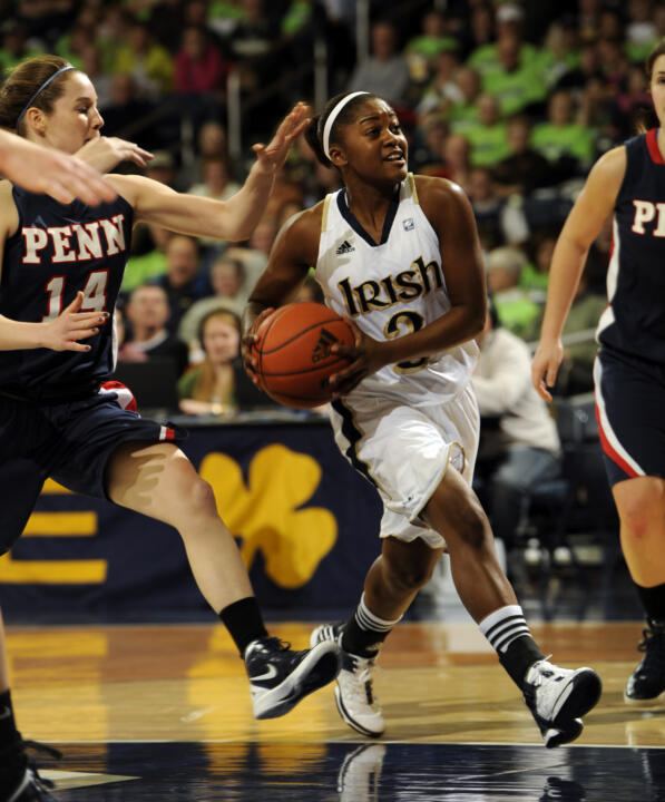 Notre Dame's Whitney Holloway heads towards the basket.