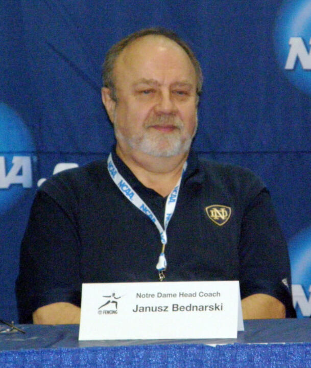 Janusz Bednarski earned his first distinction of NCAA Coach of the Year after guiding the Irish to their eighth fencing championship in 2011.