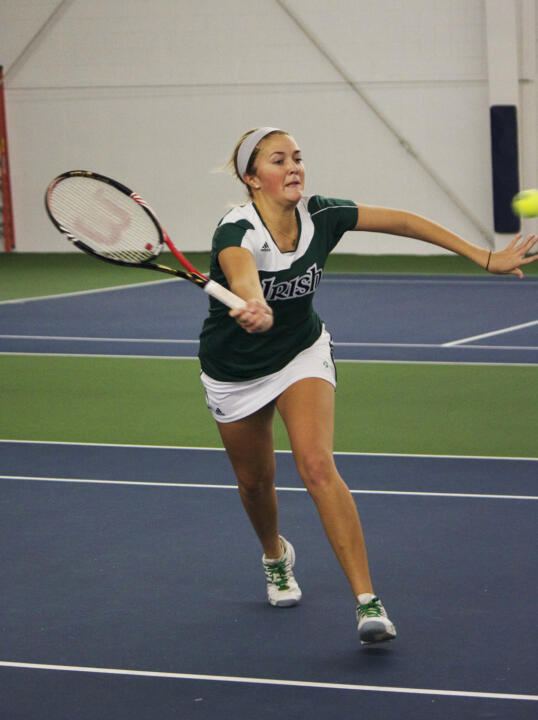 Katherine White clinched the match against Maryland with her 6-2, 6-4 triumph at No. 6 singles.