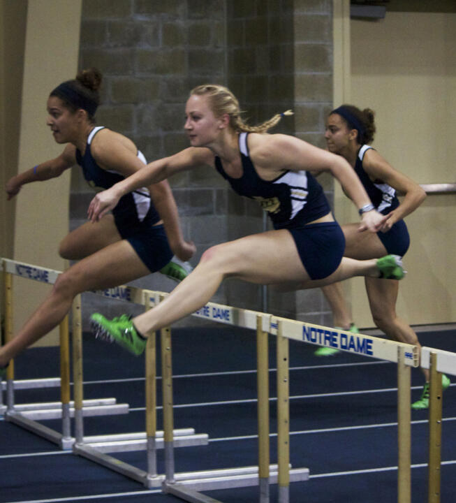 Junior Nevada Sorenson won the 60m hurdles on Sunday.