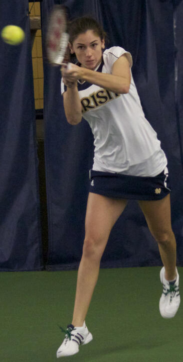 Shannon Mathews provided the lone bright spot of an otherwise tough match against Tennessee, recording her second win at No. 1 singles in as many matches.