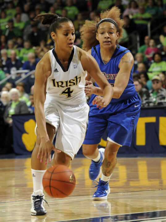 Notre Dame leads the nation with three players among the 20 named to the 2012 USBWA Women's Player of the Year Midseason Watch List - junior guard Skylar Diggins (pictured), senior guard Natalie Novosel and fifth-year senior forward Devereaux Peters.
