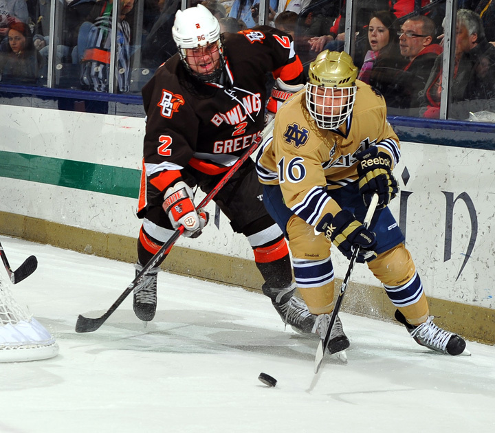 Sophomore forward Mike Voran and his Notre Dame teammates face first-place Ferris State this weekend.