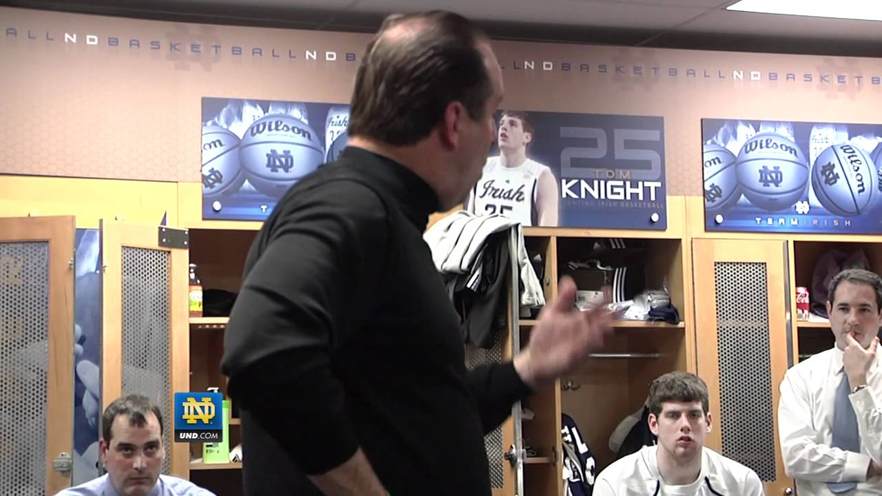 Notre Dame Head Coach Mike Brey DePaul Locker Room