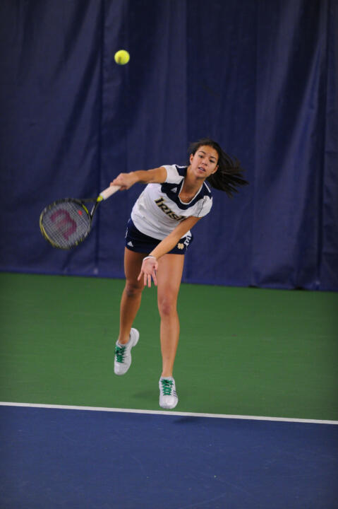 Britney Sanders looks to improve on her 13-3 dual record as the Irish tangle with Michigan on Wednesday.