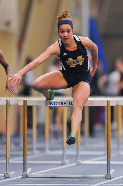 Freshman Kaila Barber lowered the school record in the 60m hurdles on Saturday.