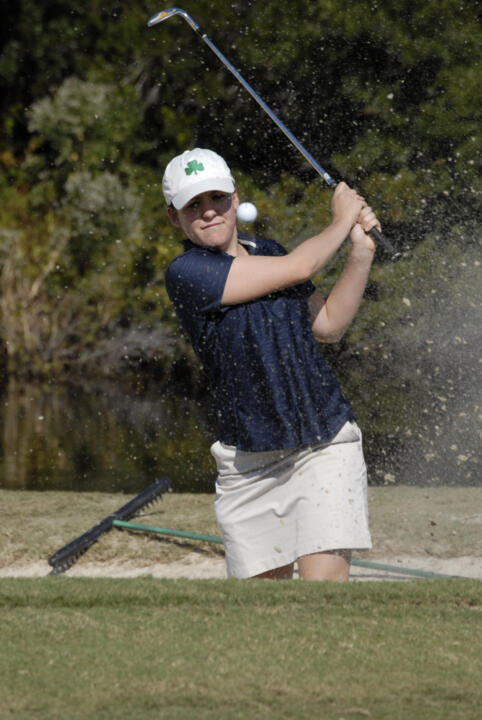 Senior Katie Allare, a Phoenix, Ariz., native leads her teammates into action this weekend at the 2012 Clover Cup Tournament at the Longbow Golf Club in Mesa, Ariz.