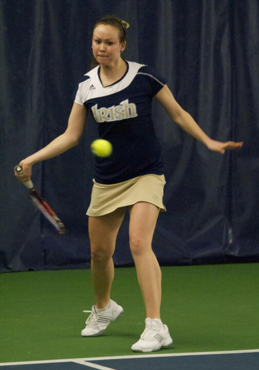 Chrissie McGaffigan posted her third-straight win in singles play in Notre Dame's 7-0 victory over Wyoming.
