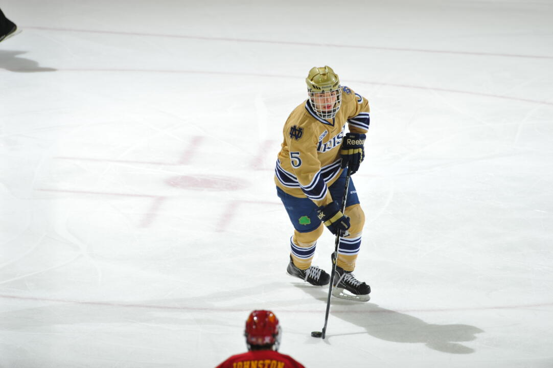 Freshman defenseman Robbie Russo is the fourth Irish defenseman to be selected to the CCHA all-rookie team.