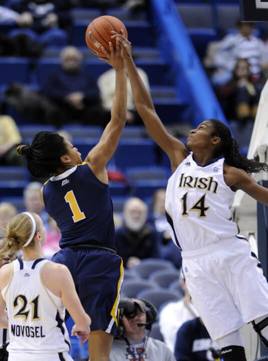 Notre Dame fifth-year senior forward/tri-captain Devereaux Peters has been selected as one of five finalists for the 2012 WBCA Division I Defensive Player of the Year award, it was announced Monday by the WBCA.