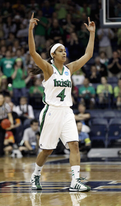 Guard Skylar Diggins celebrates during the first half.