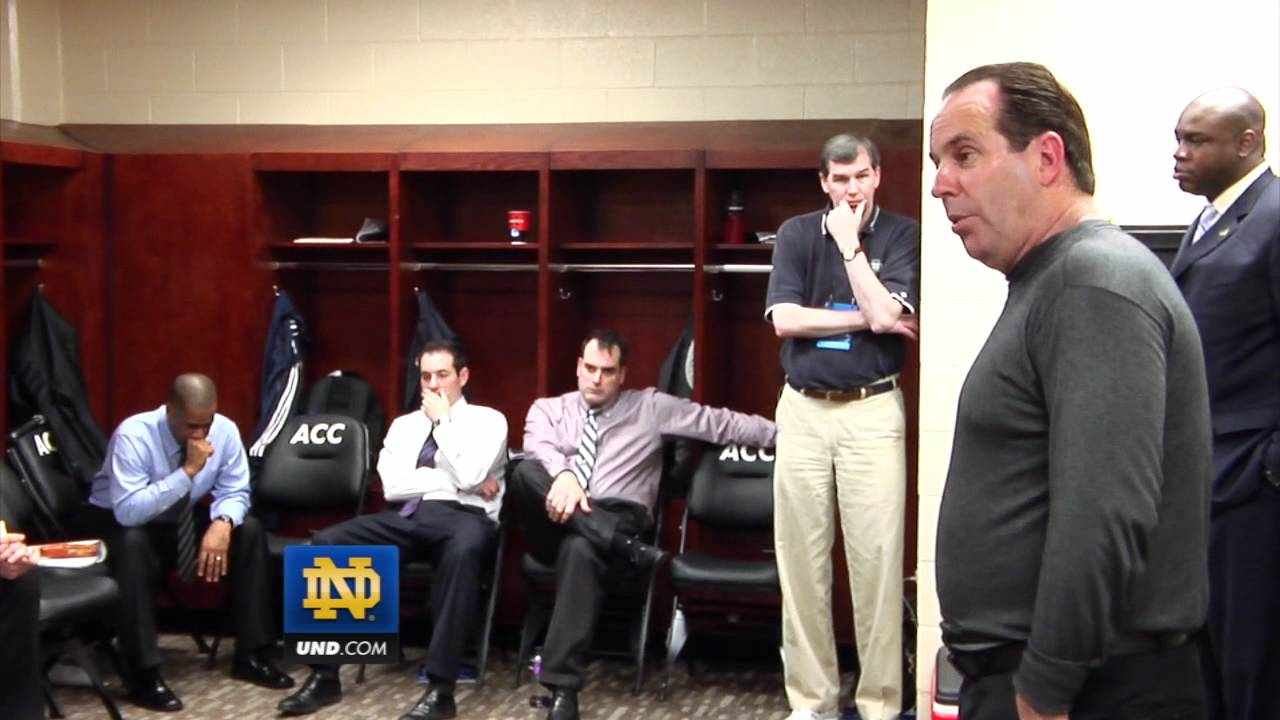 Notre Dame Men's Basketball - Coach Mike Brey Post Game Locker Room - Xavier - March 17, 2012