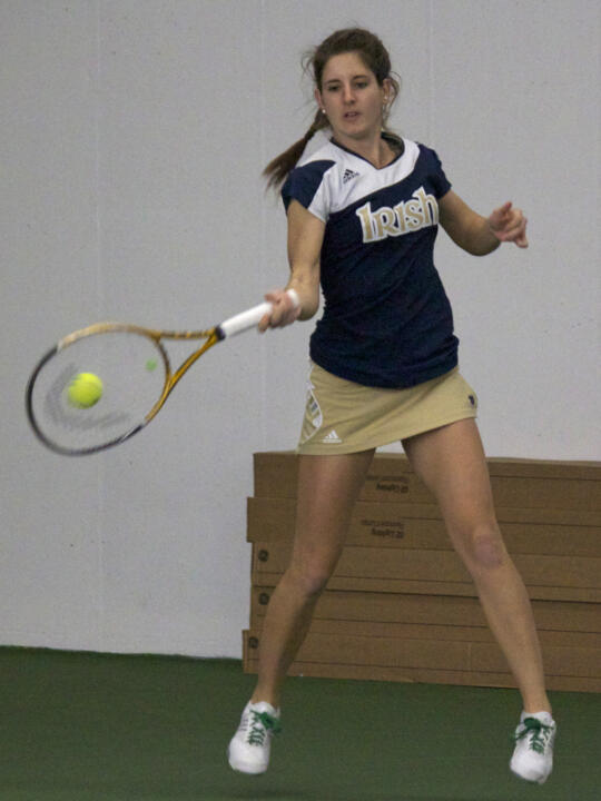 Jennifer Kellner's win at No. 4 singles advanced the Irish to the semifinals of the 2012 BIG EAST Championship.