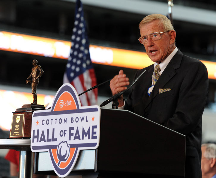 Former Notre Dame head coach Lou Holtz was inducted into the AT&T Cotton Bowl Hall of Fame on Thursday in Arlington, Texas.