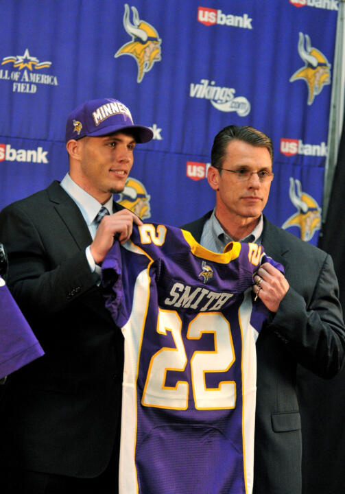 Harrison Smith with Vikings general manager Rick Spielman