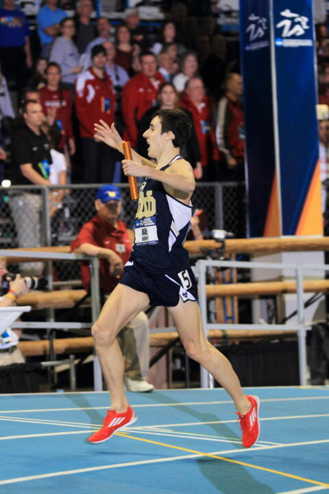 Junior Jeremy Rae reacts as he crosses the line in first place at the NCAA Indoor Championships in March.