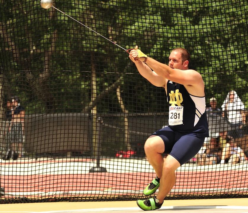 Senior Andrew Hills won the hammer throw at this year's BIG EAST Outdoor Championships.