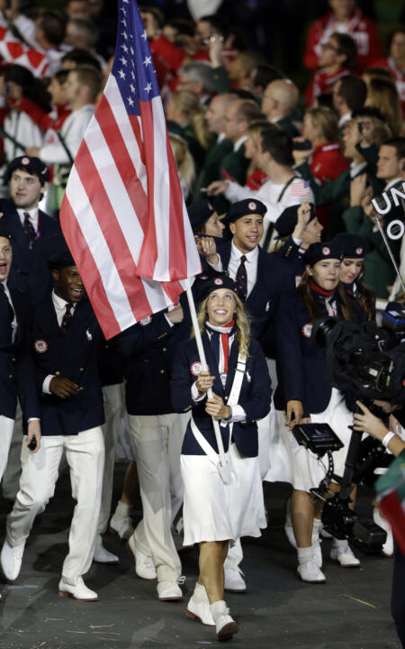 Former Notre Dame fencer and two-time Olympic gold medalist Mariel Zagunis has been chosen as the flag bearer for the United States Olympic Team for the 2012 Summer Olympics Opening Ceremony on Friday night in London, England.
