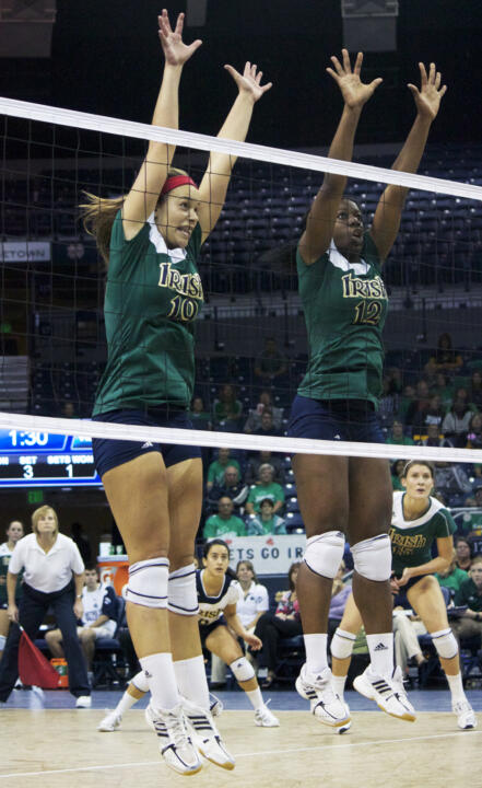 Jeni Houser (left) and Toni Alugbue (right) look to lead the Irish against No. 1 UCLA, Saint Louis and No. 4 Nebraska this weekend.