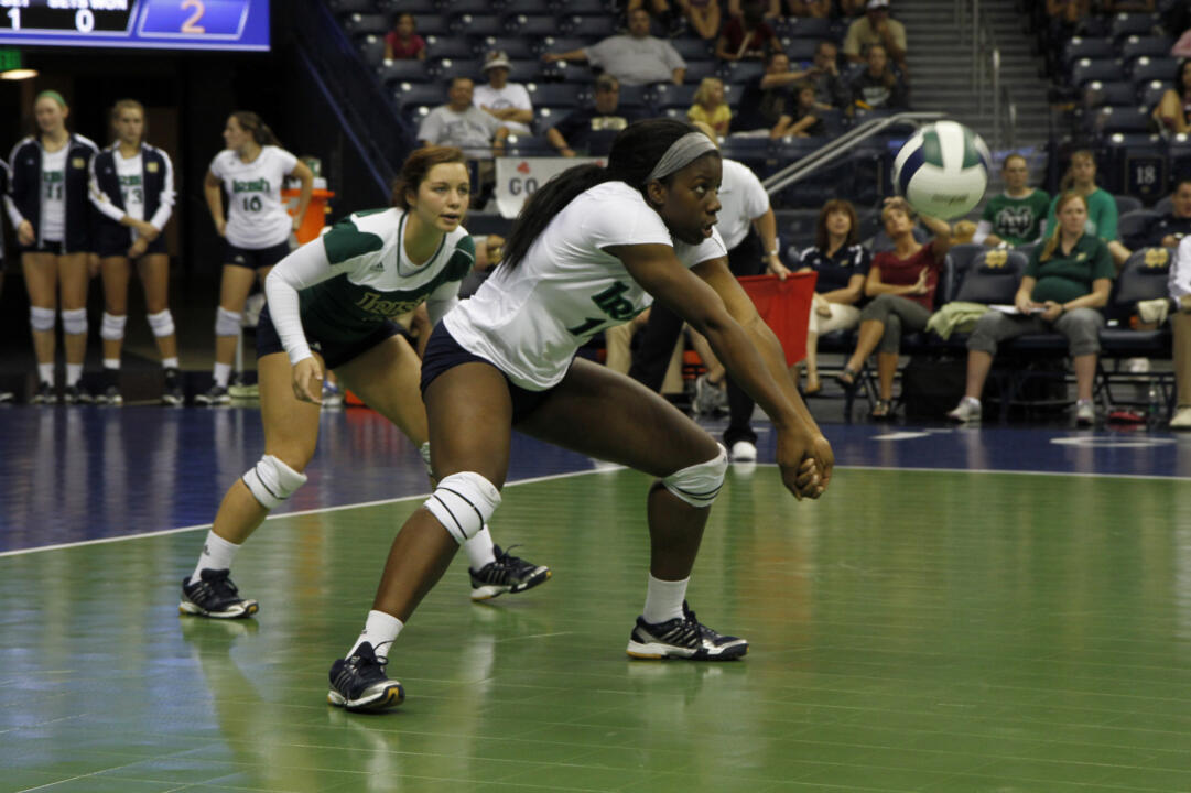 Sophomore Toni Alugbue set a new career high with 22 kills in a loss to San Diego on Saturday.