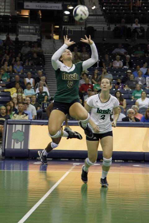 Freshman Taylor Morey has been Notre Dame's starting libero in all nine matches this season.