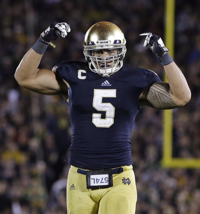 Manti Te'o leads the Irish with 38 tackles and has recorded three interceptions and two fumble recoveries in 2012.