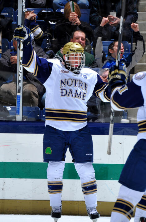 Senior defenseman Sam Calabrese is one of seven former U.S. National Team Developmental players on the Notre Dame roster this season.